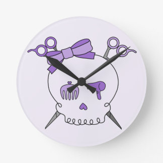Cráneo accesorio del pelo púrpura - Scissor la ban Reloj Redondo Mediano