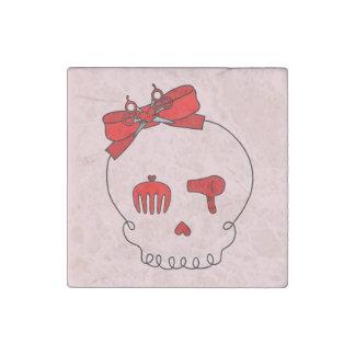 Cráneo accesorio del pelo (rojo del lazo #2) imán de piedra