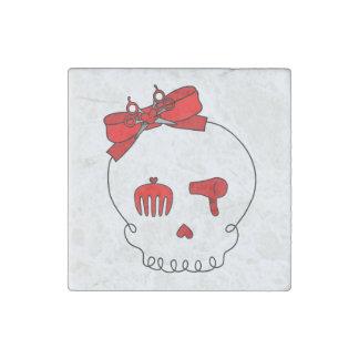 Cráneo accesorio del pelo (rojo del lazo) imán de piedra
