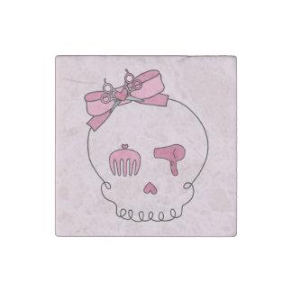 Cráneo accesorio del pelo (rosa del lazo #2) imán de piedra