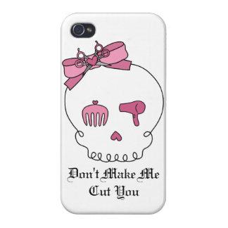 Cráneo accesorio del pelo (rosa del lazo) iPhone 4 coberturas