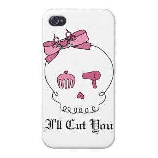 Cráneo accesorio del pelo (rosa del lazo) iPhone 4 carcasas