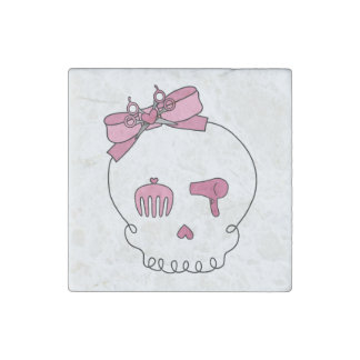 Cráneo accesorio del pelo (rosa del lazo) imán de piedra