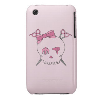 Cráneo accesorio del pelo (Scissor el rosa de la Case-Mate iPhone 3 Cárcasas