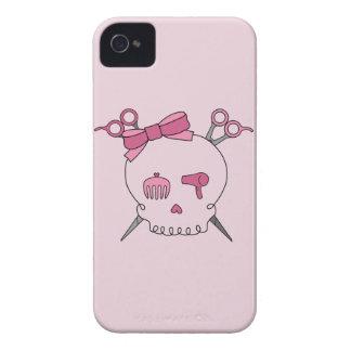 Cráneo accesorio del pelo (Scissor el rosa de la iPhone 4 Case-Mate Coberturas