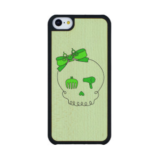 Cráneo accesorio del pelo (verde lima del lazo #2) funda de iPhone 5C slim arce