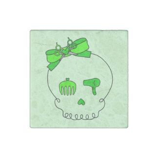 Cráneo accesorio del pelo (verde lima del lazo #2) imán de piedra