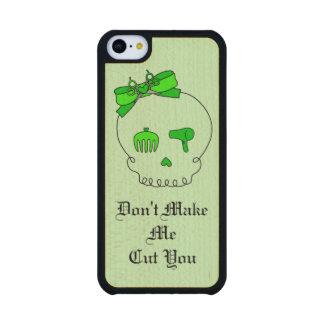 Cráneo accesorio del pelo (verde lima del lazo #4) funda de iPhone 5C slim arce