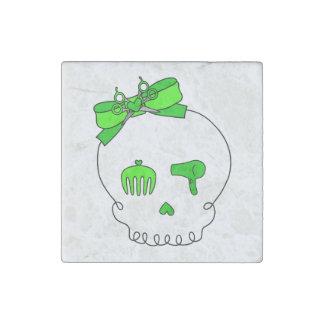Cráneo accesorio del pelo (verde lima del lazo) imán de piedra