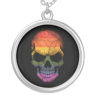 Cráneo adaptable con la bandera del arco iris del joyeria personalizada