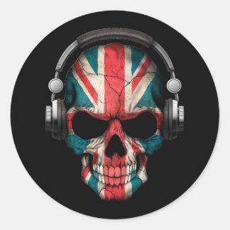 Cráneo adaptable de Británicos DJ con los Pegatina Redonda