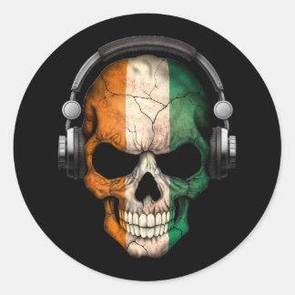 Cráneo adaptable de DJ de Costa de Marfil con los Pegatina Redonda