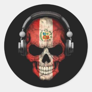 Cráneo adaptable de DJ de los Peruvian con los Pegatina Redonda