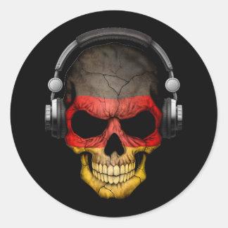 Cráneo adaptable de DJ del alemán con los Pegatina Redonda