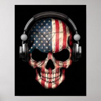 Cráneo adaptable de DJ del americano con los Póster
