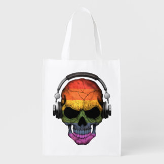 Cráneo adaptable de DJ del arco iris del orgullo Bolsa De La Compra