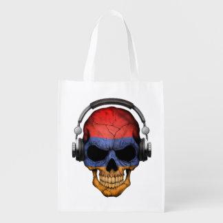 Cráneo adaptable de DJ del armenio con los Bolsas De La Compra