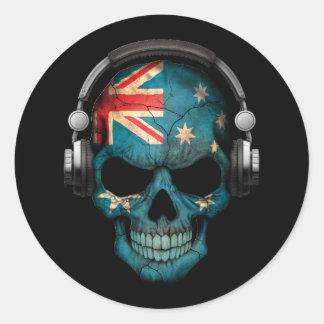 Cráneo adaptable de DJ del australiano con los Pegatina Redonda