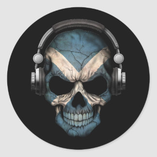 Cráneo adaptable de DJ del escocés con los Pegatina Redonda