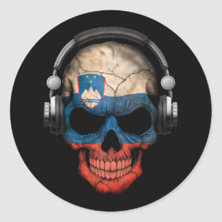 Cráneo adaptable de DJ del esloveno con los Pegatina Redonda
