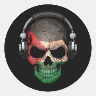 Cráneo adaptable de DJ del palestino con los Pegatina Redonda