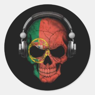 Cráneo adaptable de DJ del portugués con los Pegatina Redonda