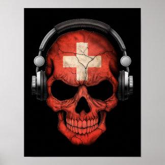 Cráneo adaptable de DJ del suizo con los Poster