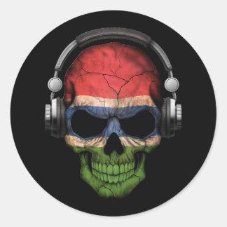 Cráneo adaptable de gambiano DJ con los Pegatina Redonda