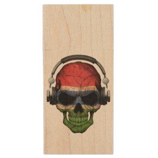Cráneo adaptable de gambiano DJ con los Pen Drive De Madera USB 2.0