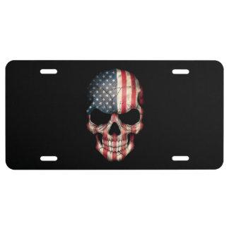 Cráneo adaptable de la bandera americana placa de matrícula