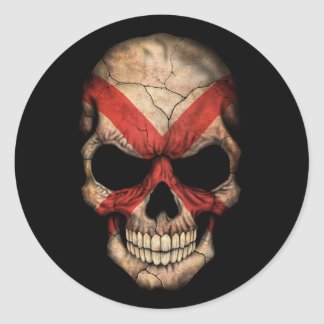 Cráneo adaptable de la bandera de Alabama Pegatina Redonda