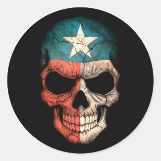 Cráneo adaptable de la bandera de Tejas Pegatina Redonda