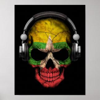 Cráneo adaptable de Myanmar DJ con los auriculares Póster