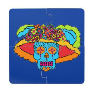 Cráneo adaptable del azúcar de Catrina Posavasos De Puzzle