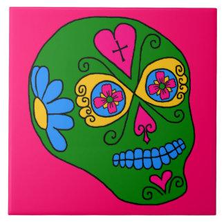 Cráneo adaptable del azúcar de Lucha Libre Azulejo Cuadrado Grande