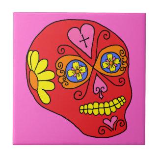 Cráneo adaptable del azúcar de Lucha Libre Azulejo Cuadrado Pequeño
