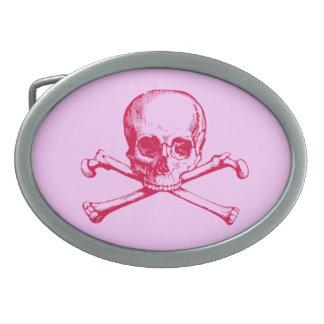 Cráneo adaptable y bandera pirata del vintage hebilla de cinturón oval