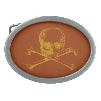 Cráneo adaptable y bandera pirata del vintage hebilla cinturon oval