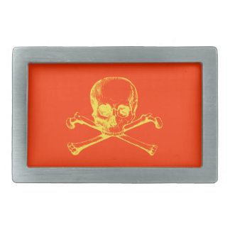 Cráneo adaptable y bandera pirata del vintage hebillas de cinturón rectangulares