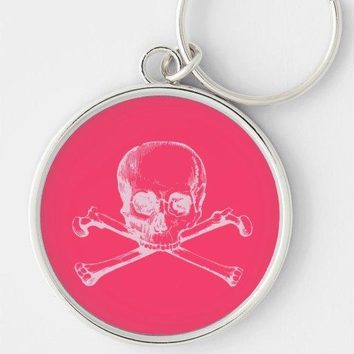Cráneo adaptable y bandera pirata del vintage llavero redondo plateado