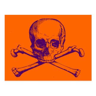 Cráneo adaptable y bandera pirata del vintage postal
