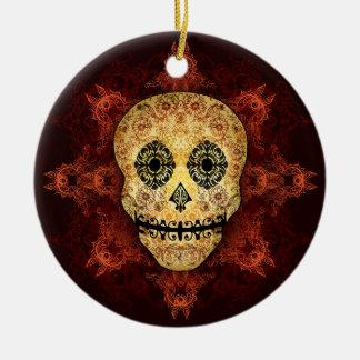 Cráneo adornado del azúcar de la llama adorno redondo de cerámica