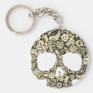 Cráneo adornado florido llavero redondo tipo pin