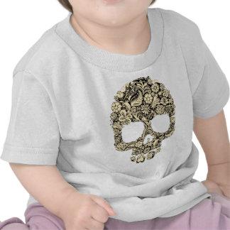 Cráneo adornado florido camisetas