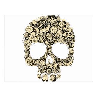 Cráneo adornado florido postales