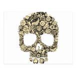 Cráneo adornado florido tarjeta postal