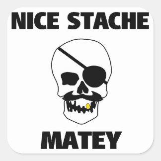 Cráneo afable agradable del pirata de Stache Pegatina Cuadradas
