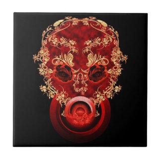 Cráneo afiligranado de la ciencia ficción azulejo cerámica