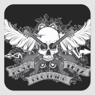 Cráneo, alas y guitarra del pegatina de la ropa de