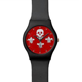 CRÁNEO ALEGRE de ROGELIO Y negro rojo de la Reloj De Mano